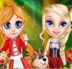 Elsa e Anna moda chapeuzinho vermelho