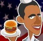 Servir hamburguer com Obama