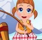Pescar com menina
