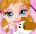 Barbie bebê cuidar do cachorro