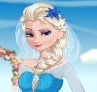 Noiva Elsa fazer comidas e drinks