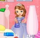 Princesa Sofia e Amber limpar quarto