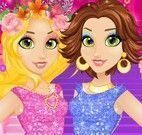 Vestir roupas da Rapunzel e amiga