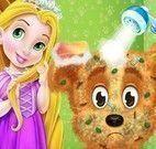 Bebê Rapunzel cuidar do cachorro