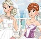 Noivas Elsa e Anna vestir