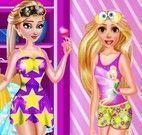 Rapunzel e Elsa roupas para festa do pijama