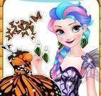 Elsa roupas de borboletas e maquiagem