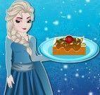 Elsa fazer torta de chocolate com castanha