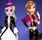 Anna e amiga roupas do Halloween