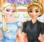 Anna e Elsa roupas e maquiagem de trabalho
