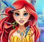 Princesa Ariel no cabeleireiro