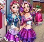 Anna e Elsa na escola vestir