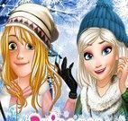 Rapunzel e Elsa roupas de frio blog