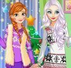Anna e amiga roupas de natal
