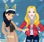 Roupas de natal na neve das princesas