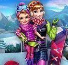 Vestir Anna e filha para esquiar
