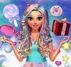 Roupas e maquiagem da garota doce