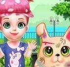 Menina e coelho banho