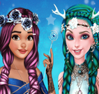 Elsa e Moana roupas hippie