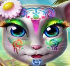 Pintura no rosto da gatinha