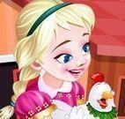 Anna cuidar das galinhas