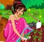 Barbie limpar o jardim