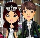 Roupas de casamento do noivo e noiva