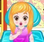 Menina com dor de garganta