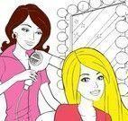 Colorir desenho da Barbie no salão