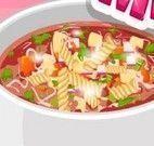 Fazer sopa de macarrão com verduras