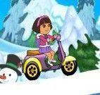 Dora aventuras de moto na neve
