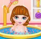 Bebê banho e vestir