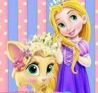 Rapunzel bebê cuidar do gato