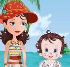 Bebê dia na praia