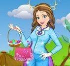 Vestir roupas da menina na páscoa