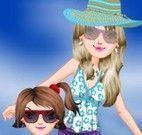 Vestir mãe e filha na praia