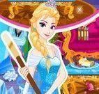 Elsa fazer limpeza do castelo