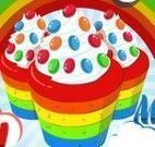 Fazer cupcakes de arco íris