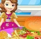 Princesa Sofia preparar hamburguer