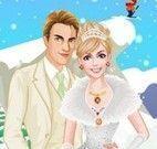 Roupas de noiva na neve