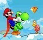 Mario e Yoshi nas nuvens