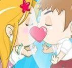 Beijo de namorados apaixonados