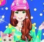 Barbie roupas passear com gatinho