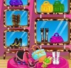 Decoração da loja de bolsa e sapatos