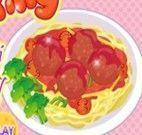 Cozinhar macarrão com almôndegas