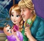 Anna e Kristoff cuidar do bebê