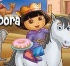 Dora procurando números com sua lupa