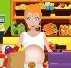 Funcionária grávida limpar mercado