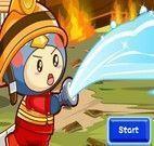 Jogo de apagar fogo com bombeiro
