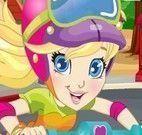 Vestir Polly para andar de patinete